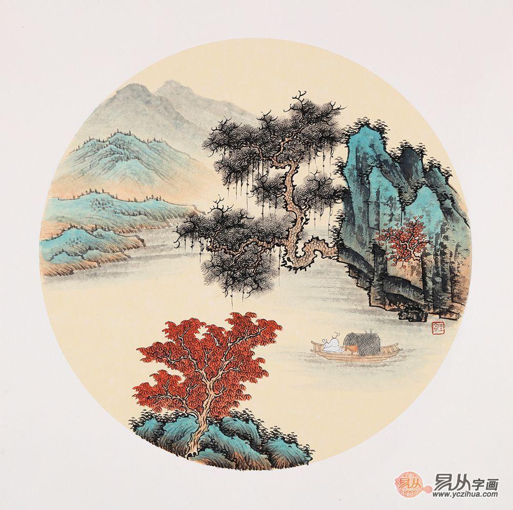 王宁最新力作仿古斗方山水画作品《山水之乐》