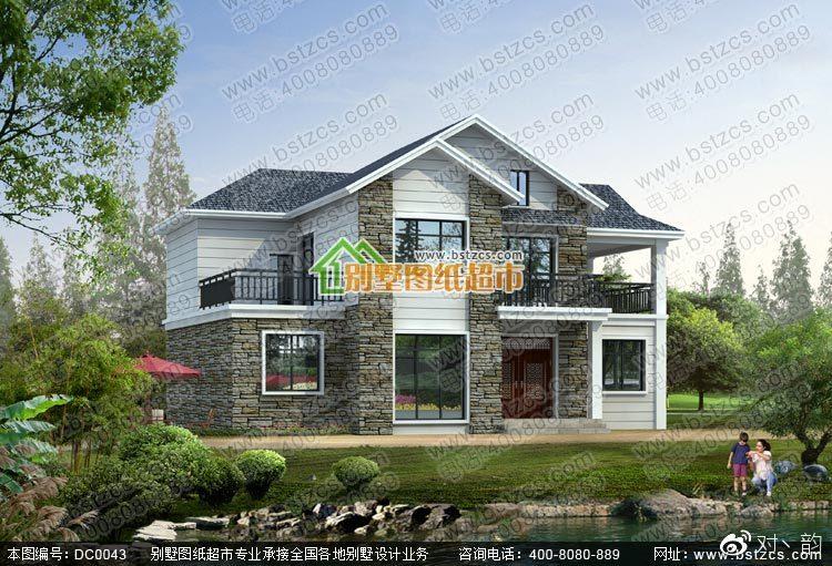 本款图纸为新农村二层坡屋顶别墅设计效果图.