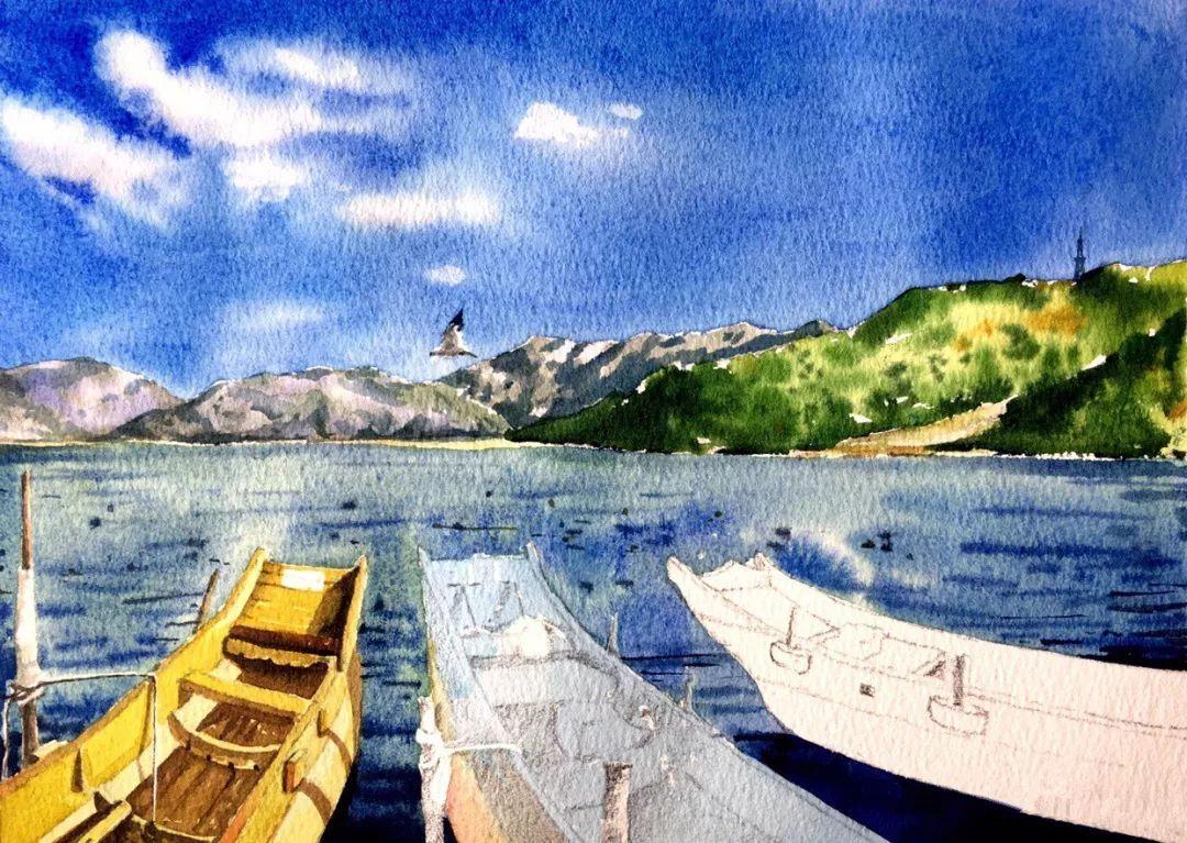 三分钟学画   今天是日常的水彩风景画图片