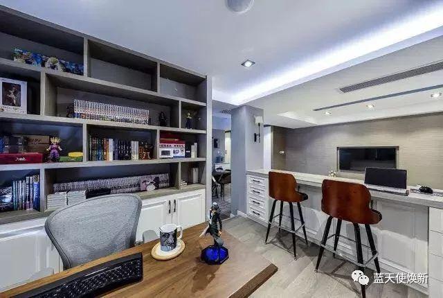 120㎡简约三房,矮墙沙发,半开放的书房真漂亮!图片