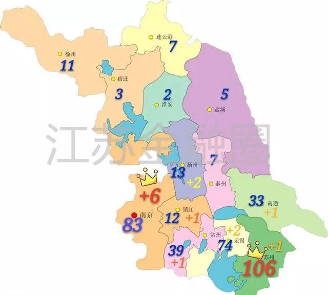 江苏上市公司城市地图:苏南五市包揽八成,苏北上市资源青黄不接