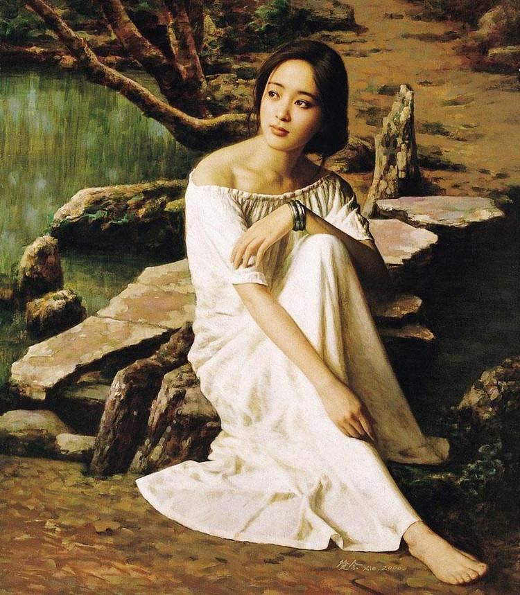 中国女人体油画欣赏_浅析中国油画民族化形成历程,灵动优雅的人体油画美女欣赏