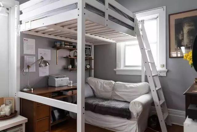 这个就更加巧妙了,书桌与衣柜做下铺,上铺就是床,再小的卧室也很实用.图片