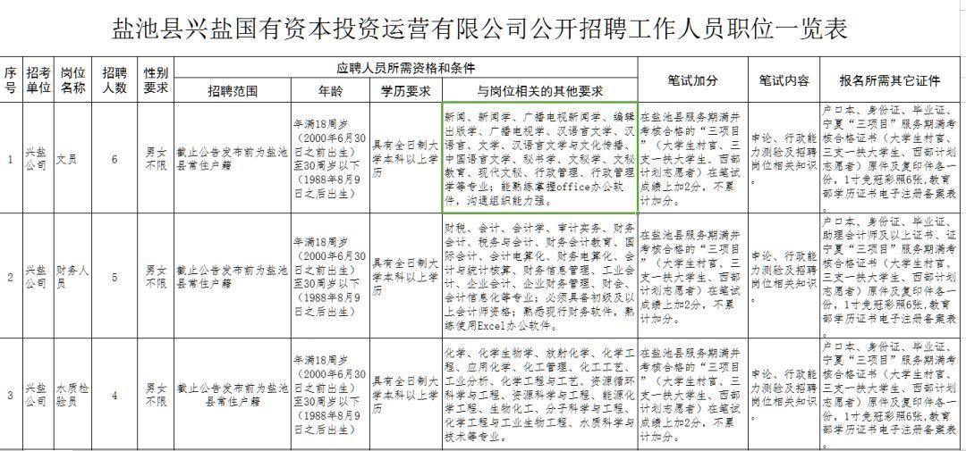 盐池县兴盐国有资本投资运营有限公司公开招聘工作人员的公告-雪花新闻