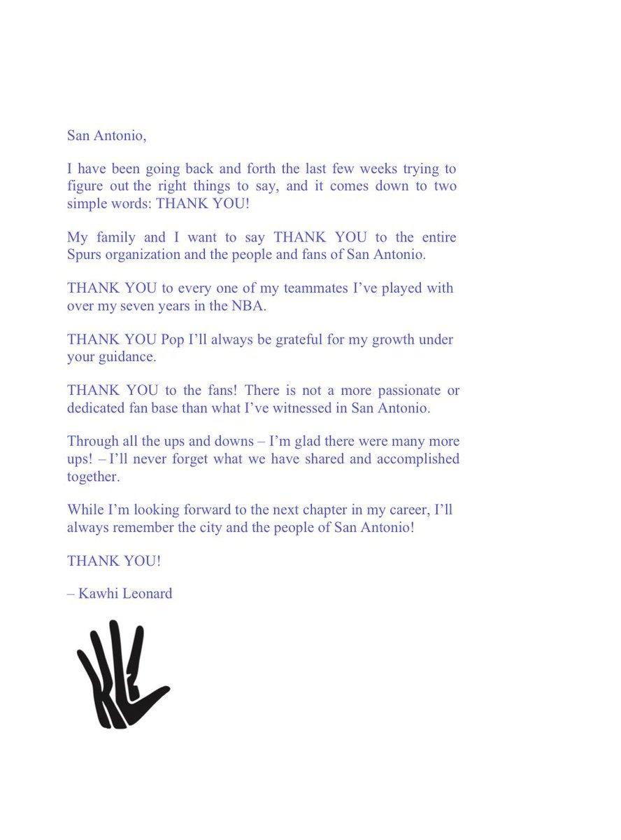 首次发声!伦纳德发布声明 深情致谢圣安东尼奥