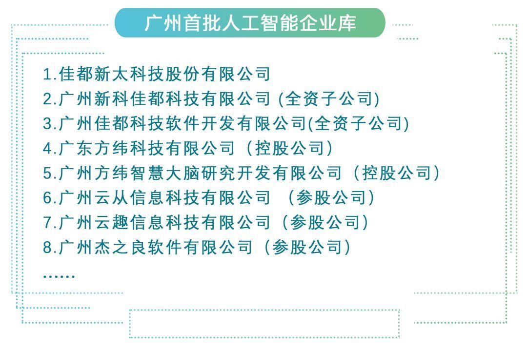 佳都科技产业生态圈8家公司入选广州首批人工智能企业库