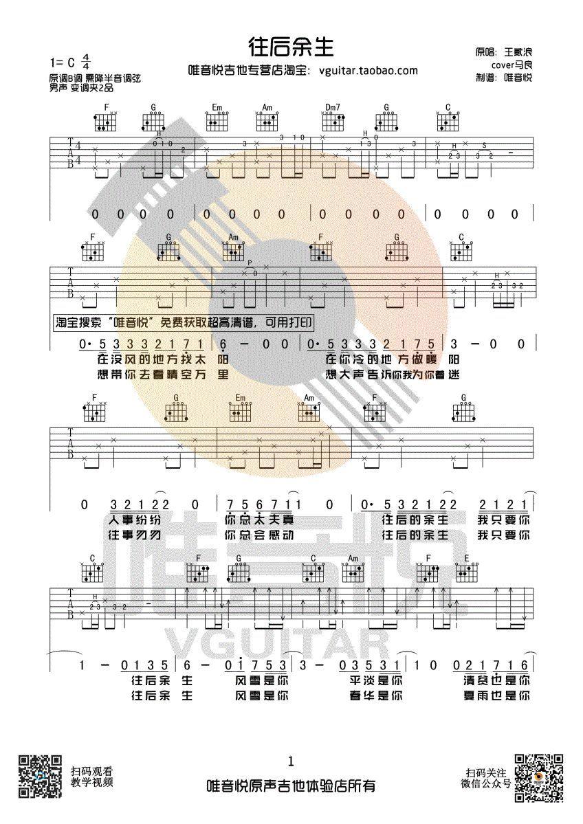 【吉他谱】往后余生 王贰浪版 简单版吉他谱图片