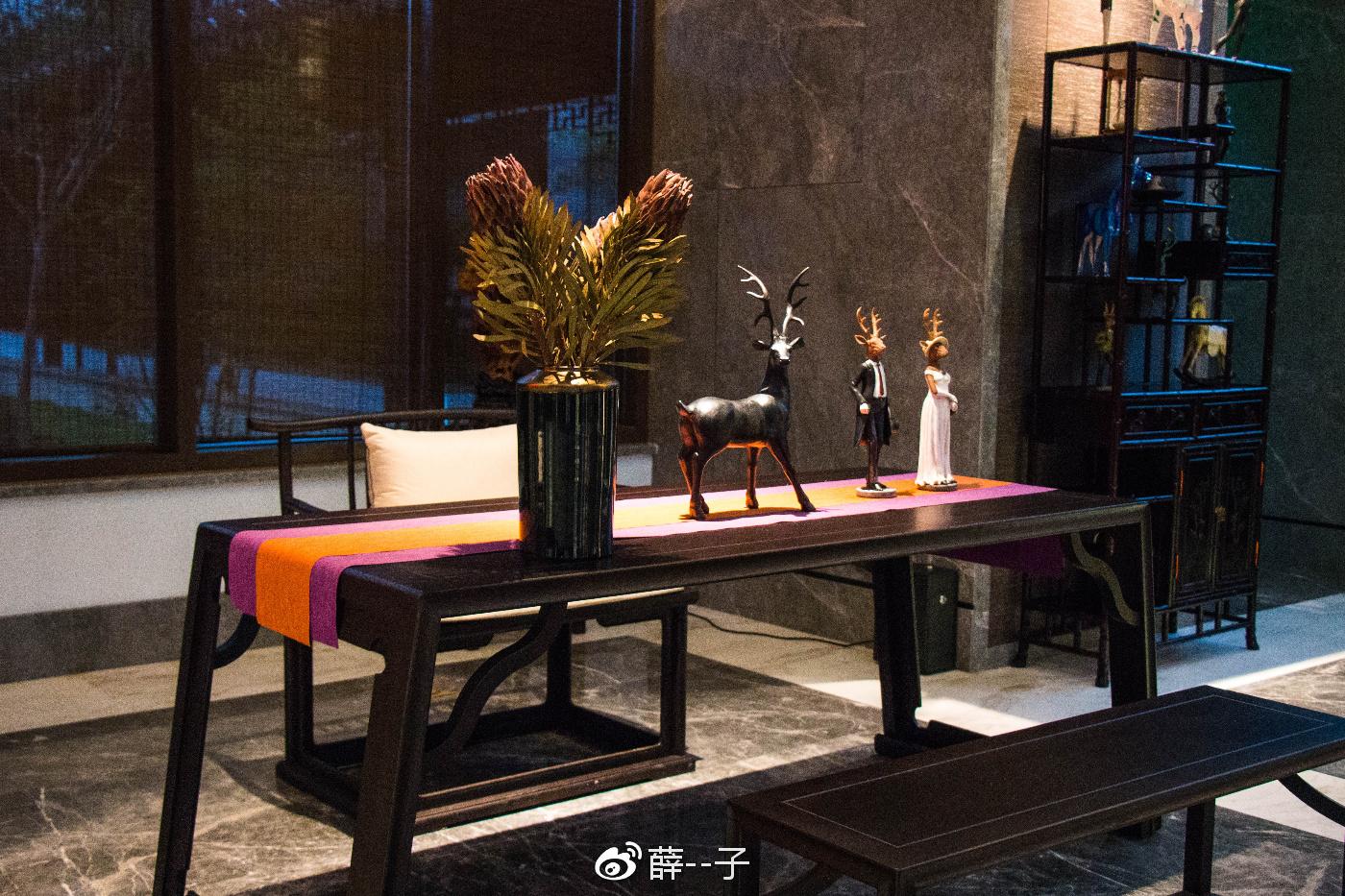 大气典雅的中式立柱,落地的玻璃窗,太阳洒落,留下点点斑驳,如同画中图片