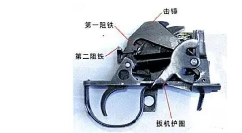 以下图中95的击发系统分解图为例,可以看到扳机与击锤之间距离较远图片