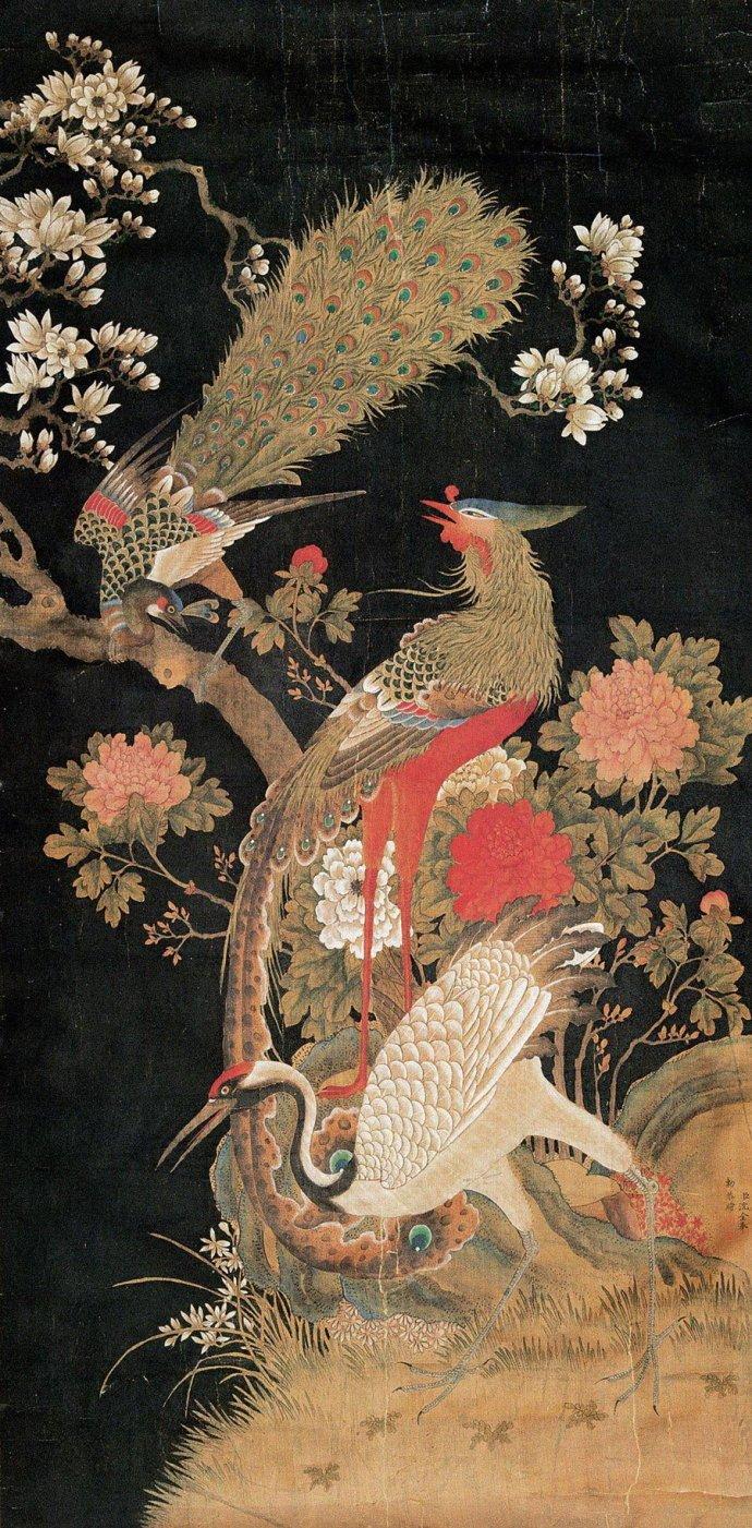福寿田园                清代沈铨花鸟画作品 - yyg1958 - 福寿田园 中国田黄石博物馆