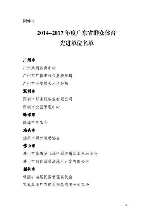 台城街道办党委吴坚宏同志荣获广东省群众体育先进个人称号