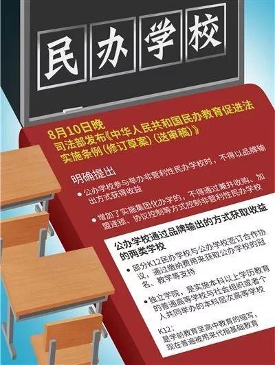 民办教育促进法送审稿发布:公办学校不得举办营利性民办校