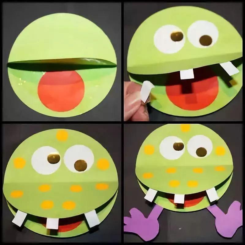 原标题:【小天使亲子团】亲子手工丨青蛙大嘴怪 青蛙大嘴怪 说起大嘴怪,可别把青蛙给忘记了,他可是最萌的大嘴怪哦~  青蛙怪很爱美哦,它怕自己美美的皮肤被晒坏了,还打了一把小伞呢~ 准备材料:卡纸,剪刀,固体胶,各色画笔  制作步骤:卡纸剪出图中的形状备用~