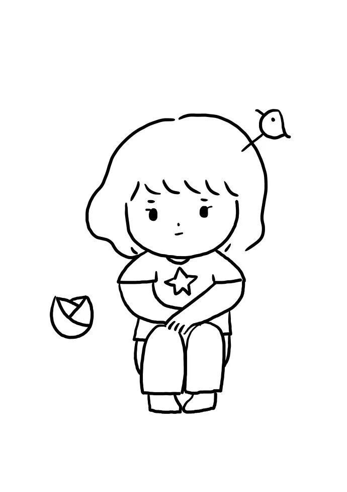 简笔画 可爱的小女孩