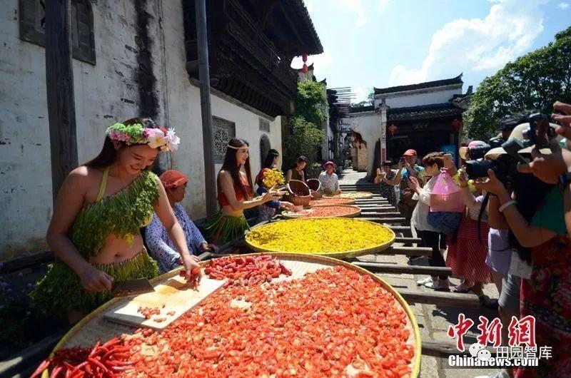 江西古村庆立秋 模特穿 蔬菜比基尼 走秀 插画师用水果 蔬菜为模特设计的服装 爆红时尚艺术圈