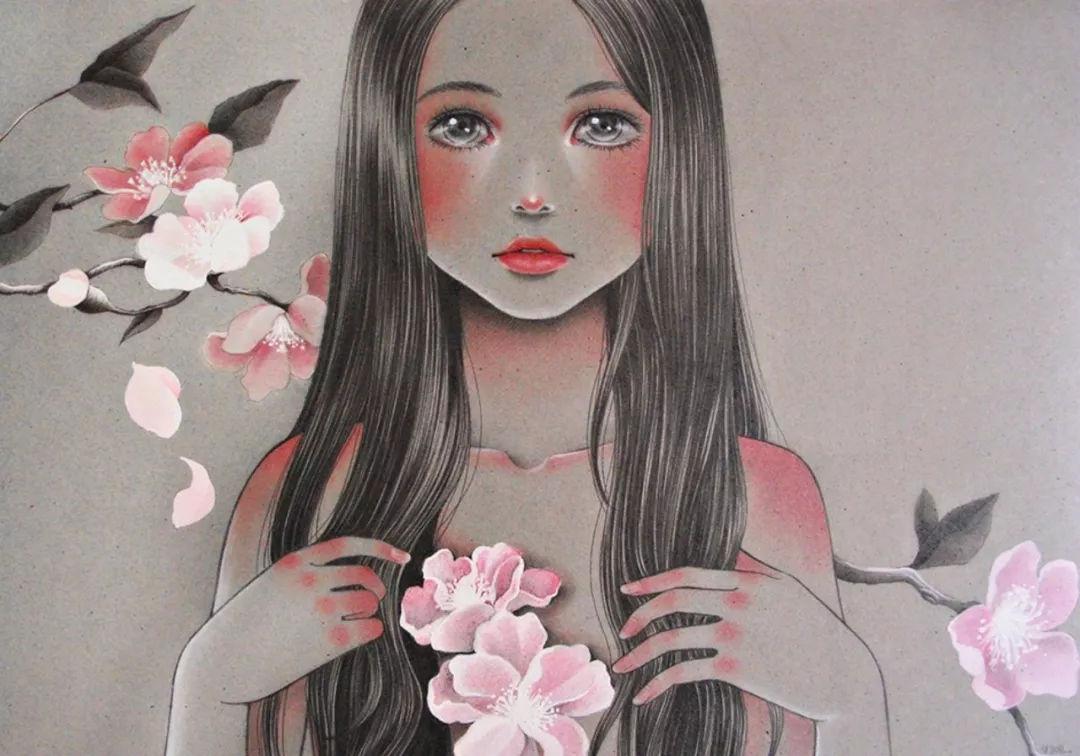 彩铅手绘校服女