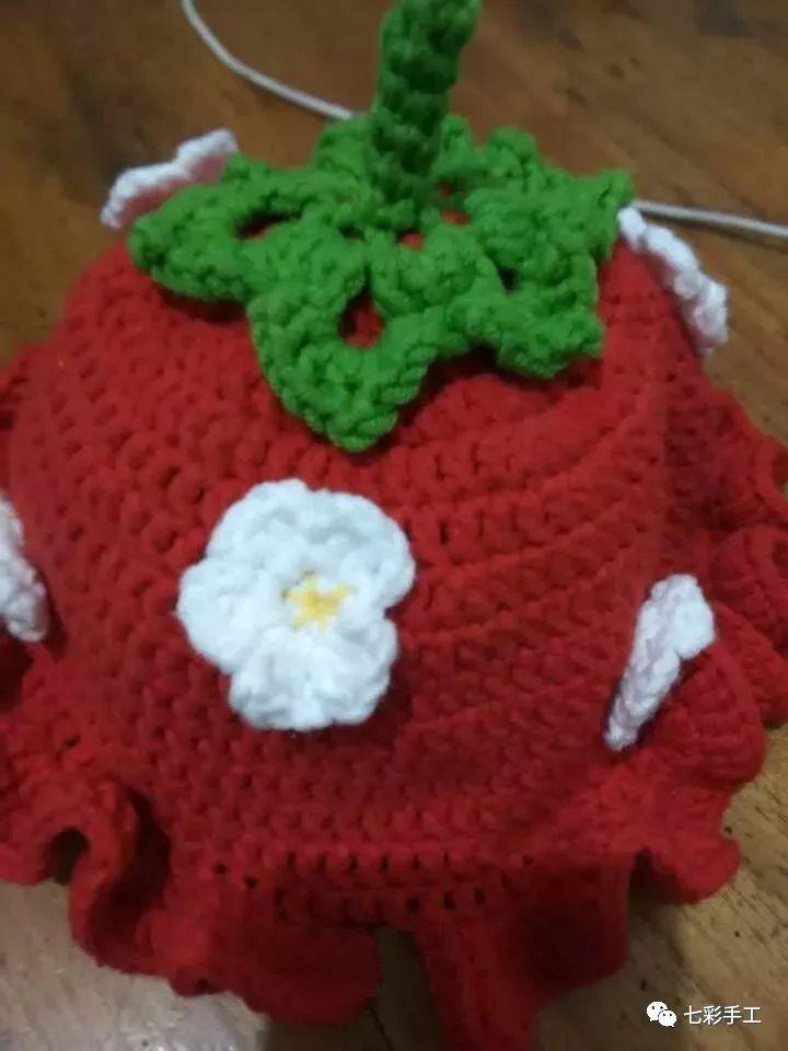 草莓帽子钩针编织教程,女儿百天照穿上好喜庆,宝妈们赶紧做一个