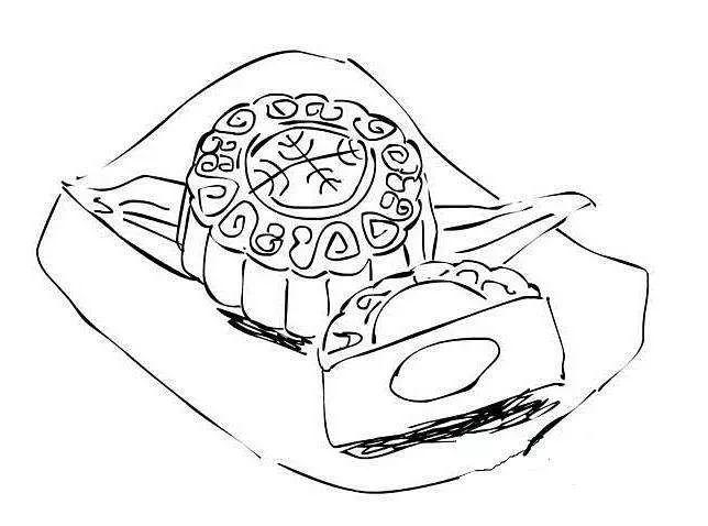 中秋月饼简笔画图片图片