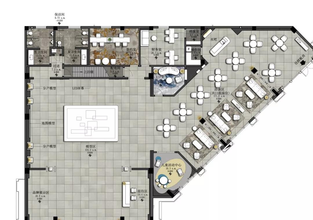 平面布置图 项目名称丨佛山融创滨江首府售楼部 项目业主丨融创地产