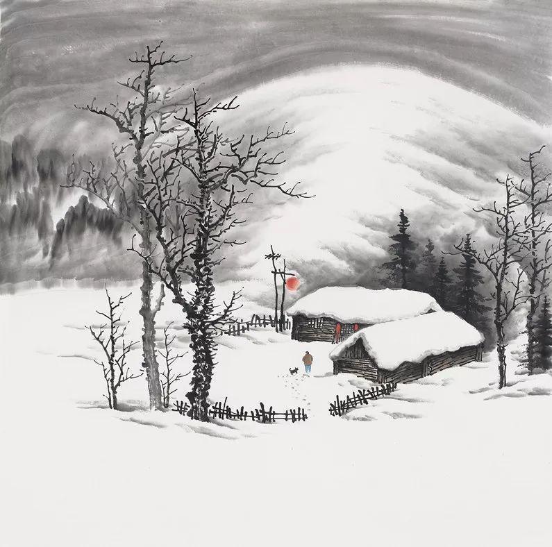 吴大恺 东北雪景山水画 纵68厘米 横68厘米 家中为什么要挂字画?图片