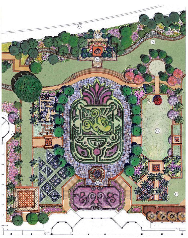 模纹花坛手绘平面图