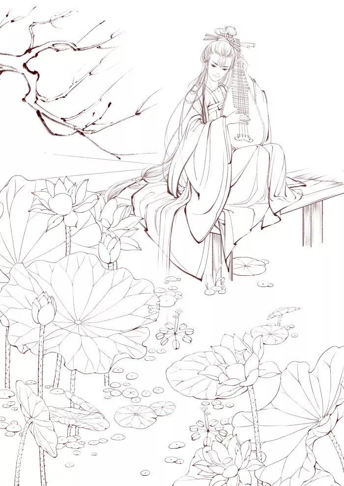 绘画素材 | 古风人物黑白线稿,零基础画画拿去临摹吧!