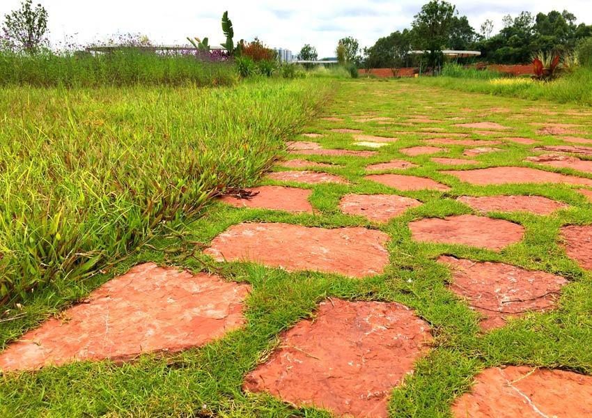 南宁园博园:红砂岩当嵌草砖 变废为宝又美观 (图1)