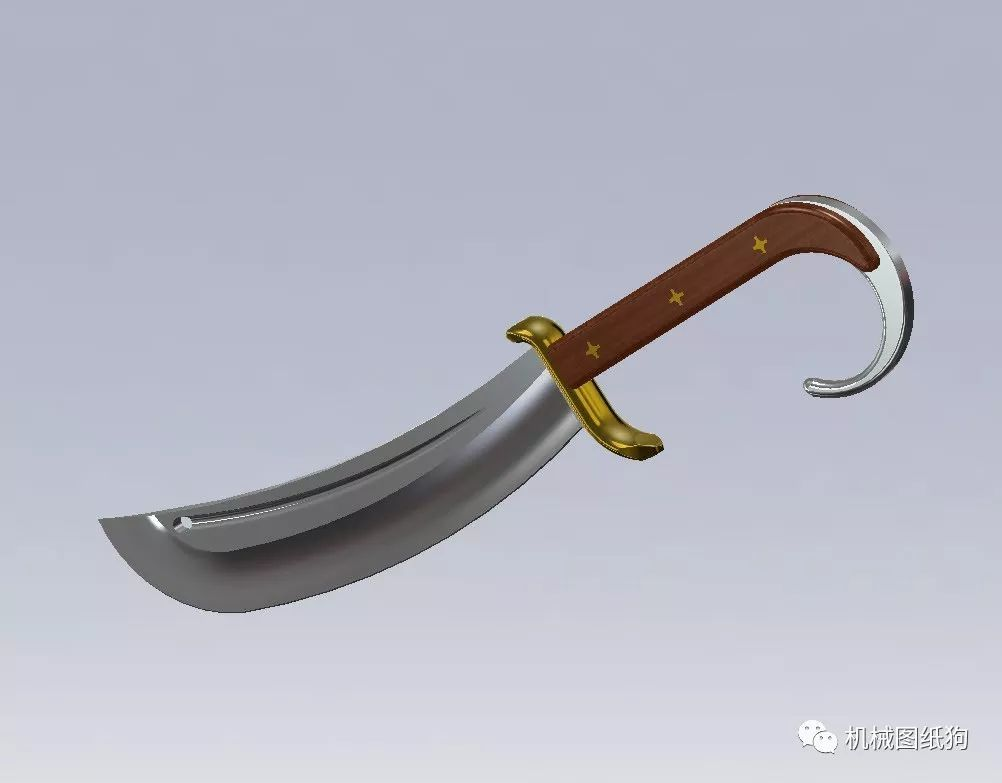 【武器模型】Captain Hook砍刀模型3D圖紙 Solidworks設計