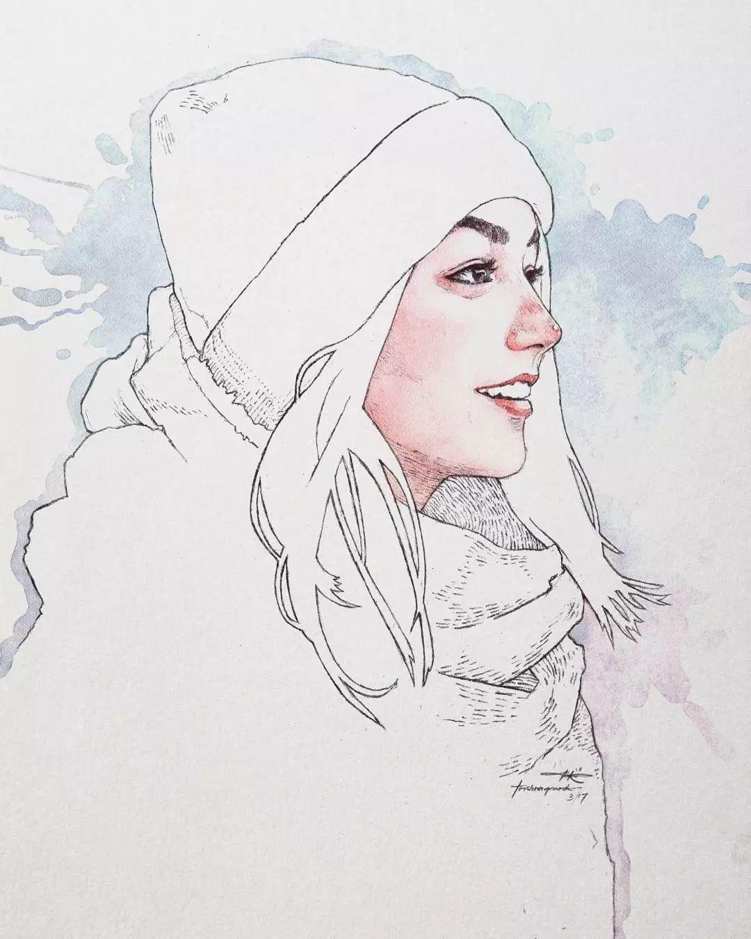 美女的五官,头发,衣服 大多都是用钢笔把黑白灰关系画出来后