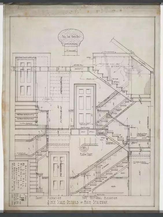 没有cad年代的建筑图纸, 依然画的很准确很精细.