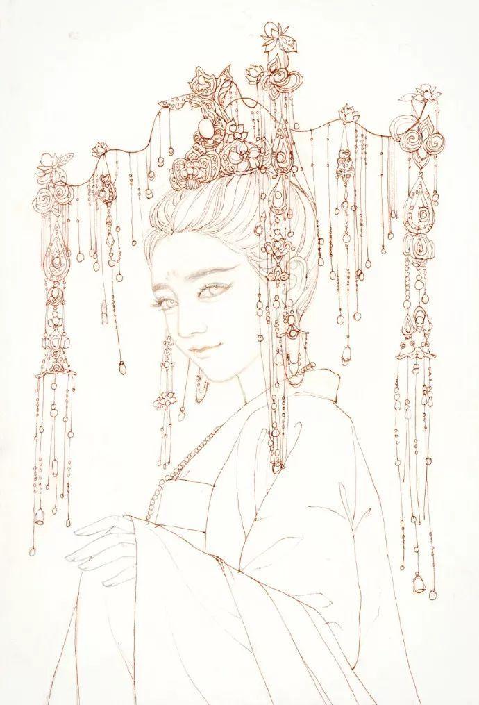 手绘古风少女,唯美灵动,唤起少女们心中的三生三世