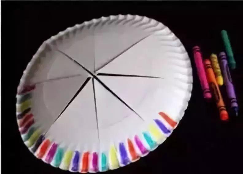 制作步骤:先对接纸盘,得出中间线,如图三剪出兔耳朵形状,并用色笔