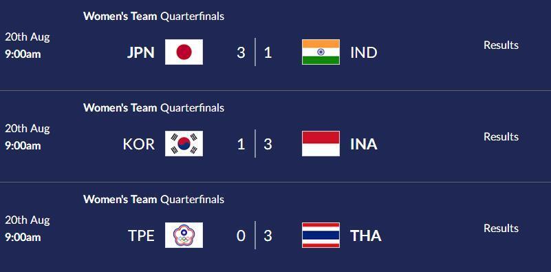 亚运羽球泰国女团将战中国 印尼日本会师半决赛