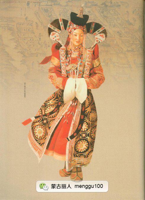 传承| 16张蒙古族的服装手绘图