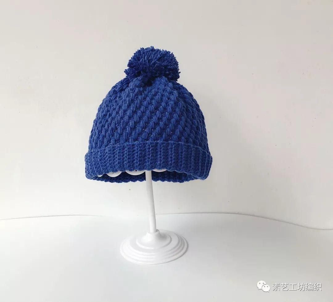 编织视频 | 钩针儿童成人冬季保暖卷边帽简约款毛线帽子豆豆帽钩针