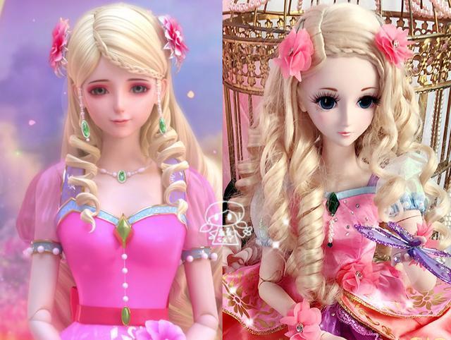 现实版三位叶罗丽公主的娃娃造型,灵公主依然很美,罗丽有点毁