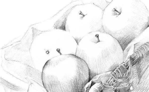 初学者如何学素描—芒果,花生,苹果篮的素描绘画步骤