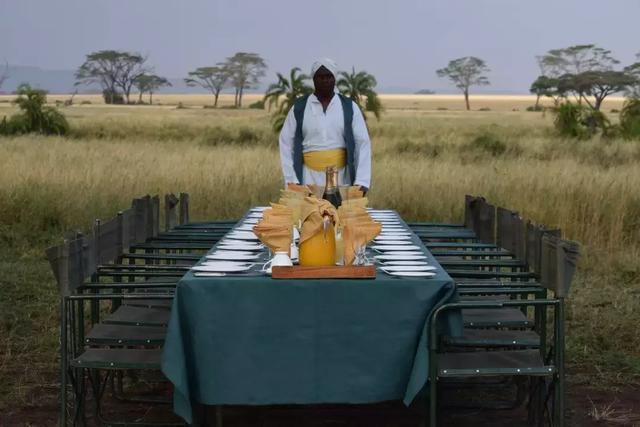 落地后会有专人在树下支起桌子铺好餐布   为你准备一场迎着朝阳的图片