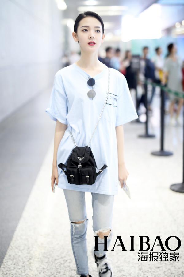 明星街拍机场街拍 华语明星街拍 上海 陈瑶