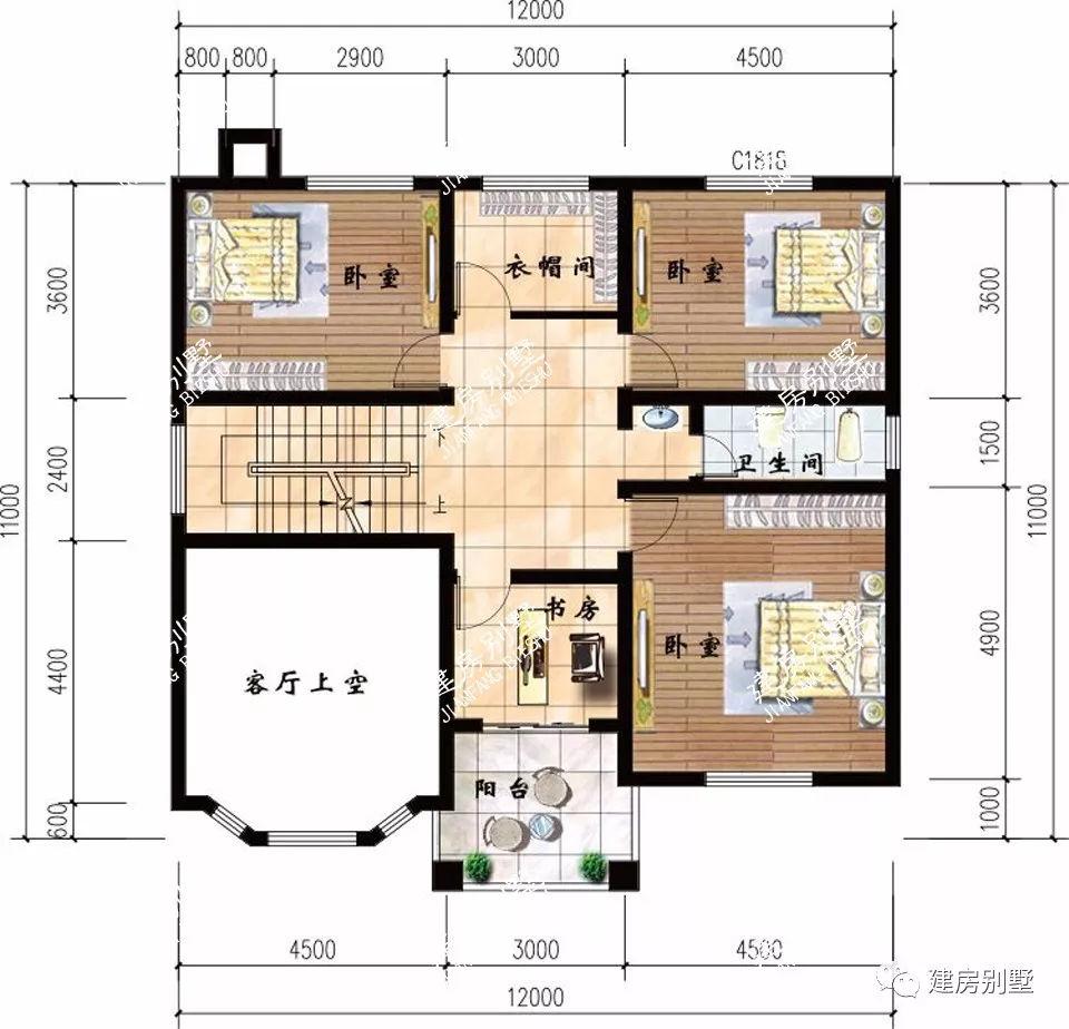 7.5x12米别墅平面图