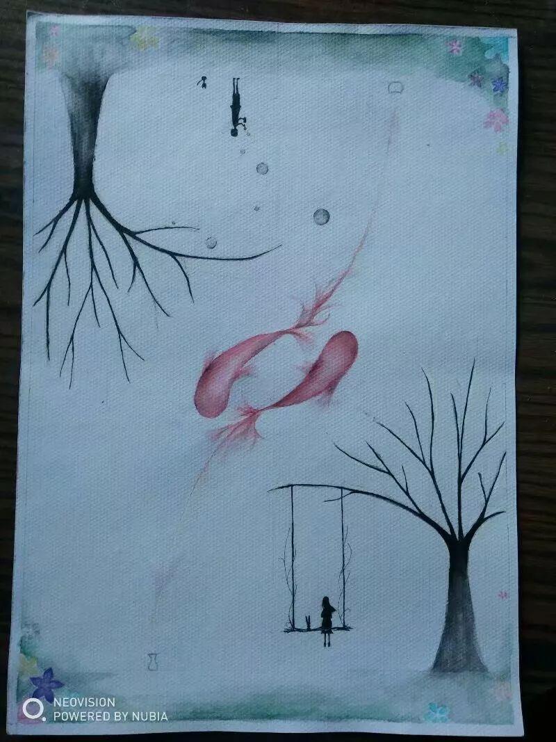 动漫 正文  同样铅笔大致画稿after水溶性彩铅勾线,树男孩女孩碳素笔图片