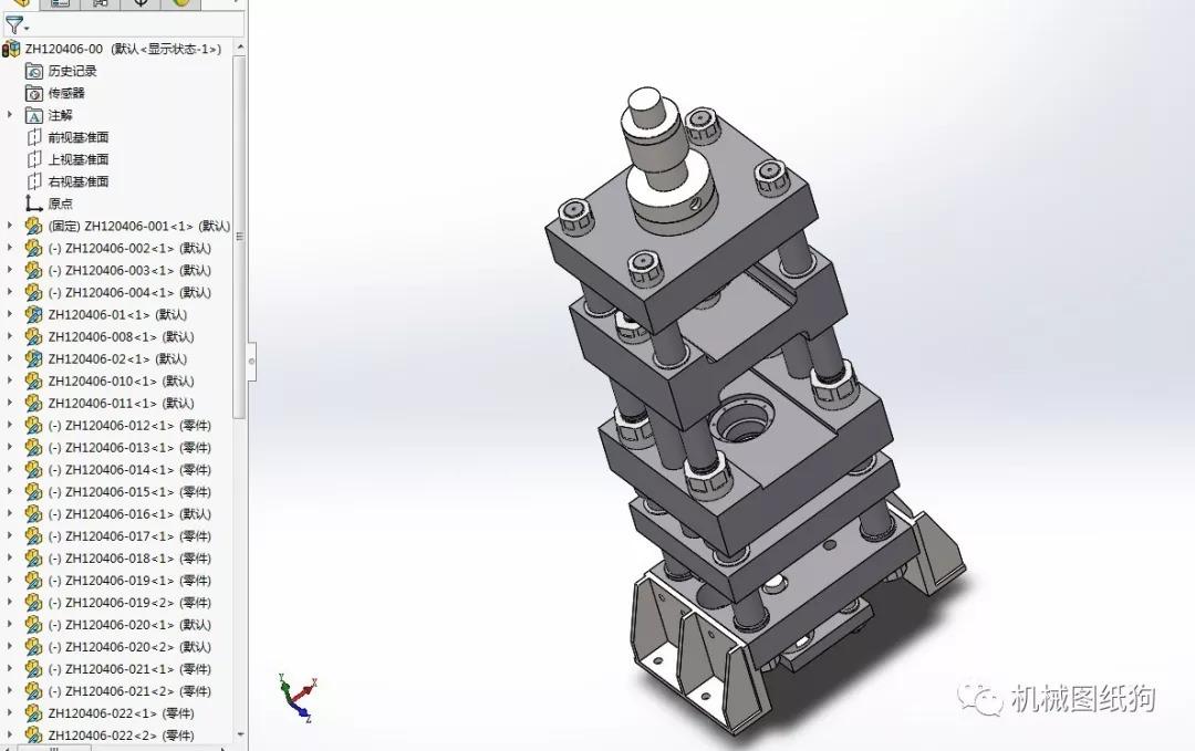 【工程机械】40吨液压冲床机构3d模型图纸 solidworks