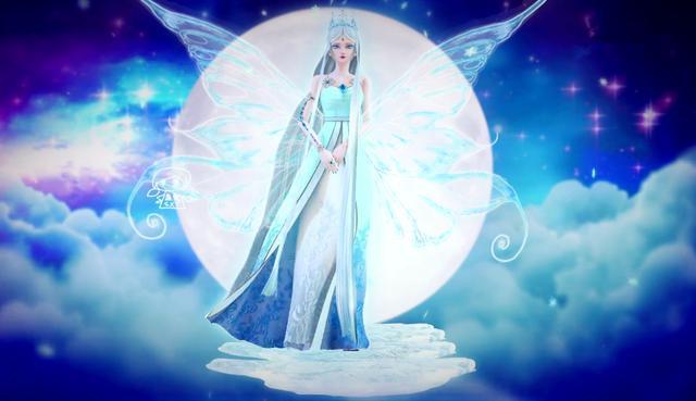 月光下拥有羽翼最酷的四位叶罗丽,白光莹惊艳,冰公主化为冰蝶图片