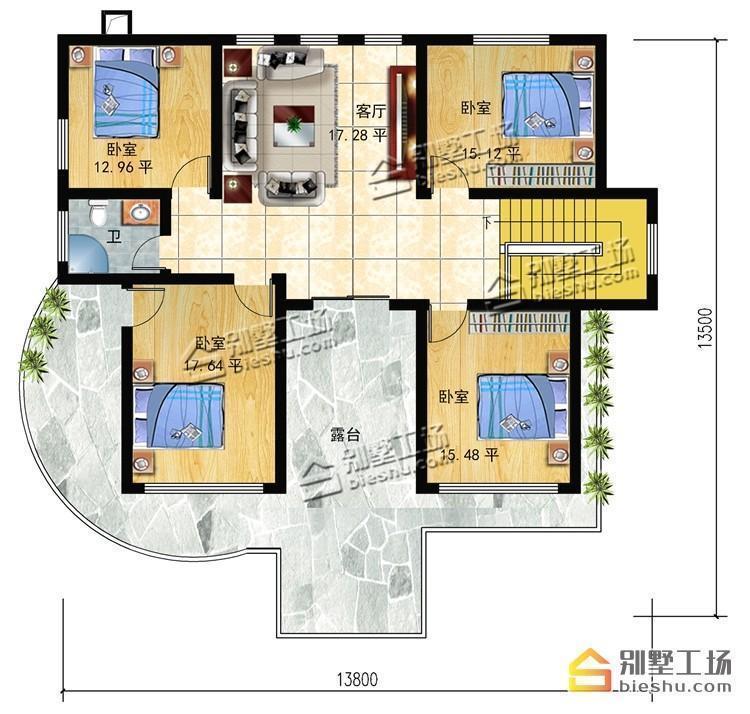 22万就能建的农村二层别墅,带堂屋弧形客厅很别致图片