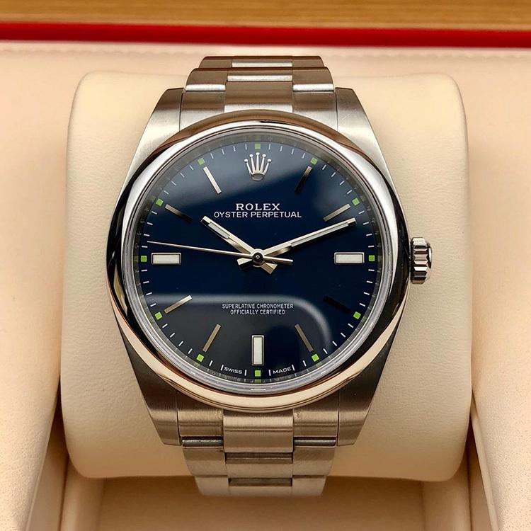 二手正品劳力士蚝式恒动系列114300蓝盘男款手表回收案例图片