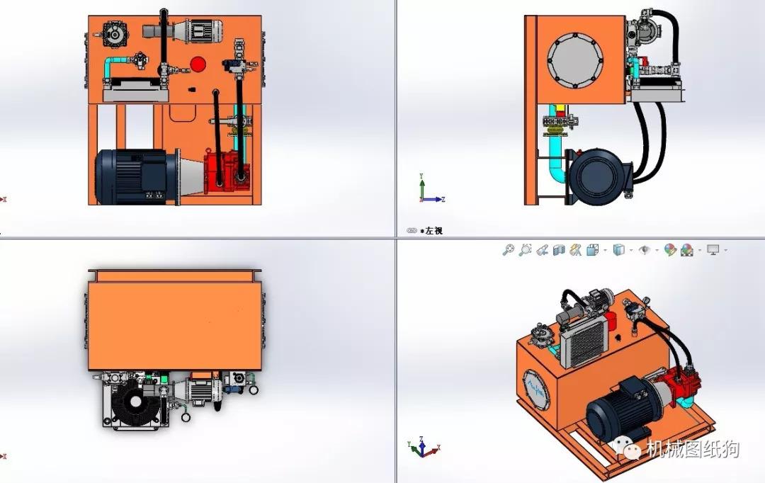 【工程机械】800吨液压泵站3d模型图纸 solidworks设计