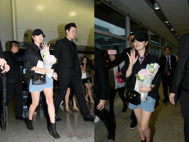 宋慧乔低调现身机场 穿黑衬衫留短发面对镜头灿笑