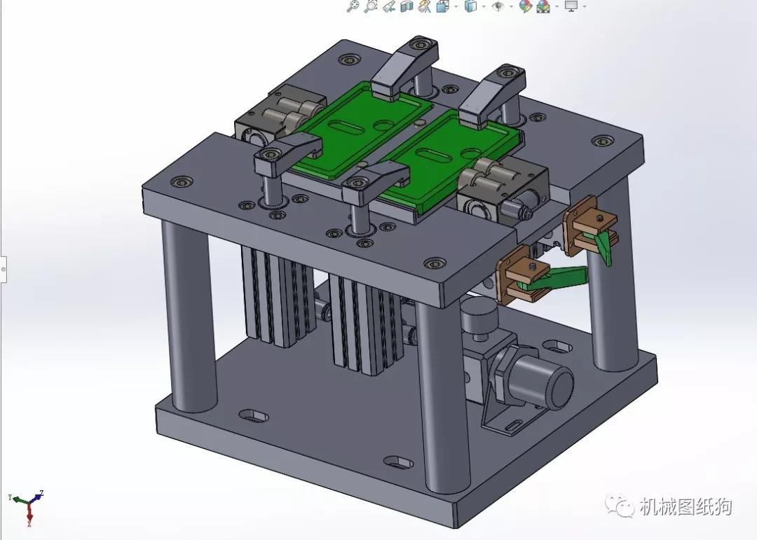 【工程机械】hitop气动夹具3d模型图纸 solidworks设计