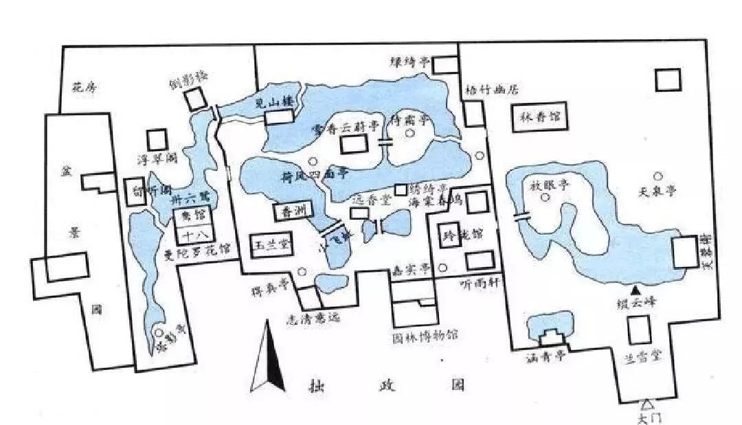 旅游 正文  明代拙政园平面图 不过,避开正南开门的现象多见于明代和