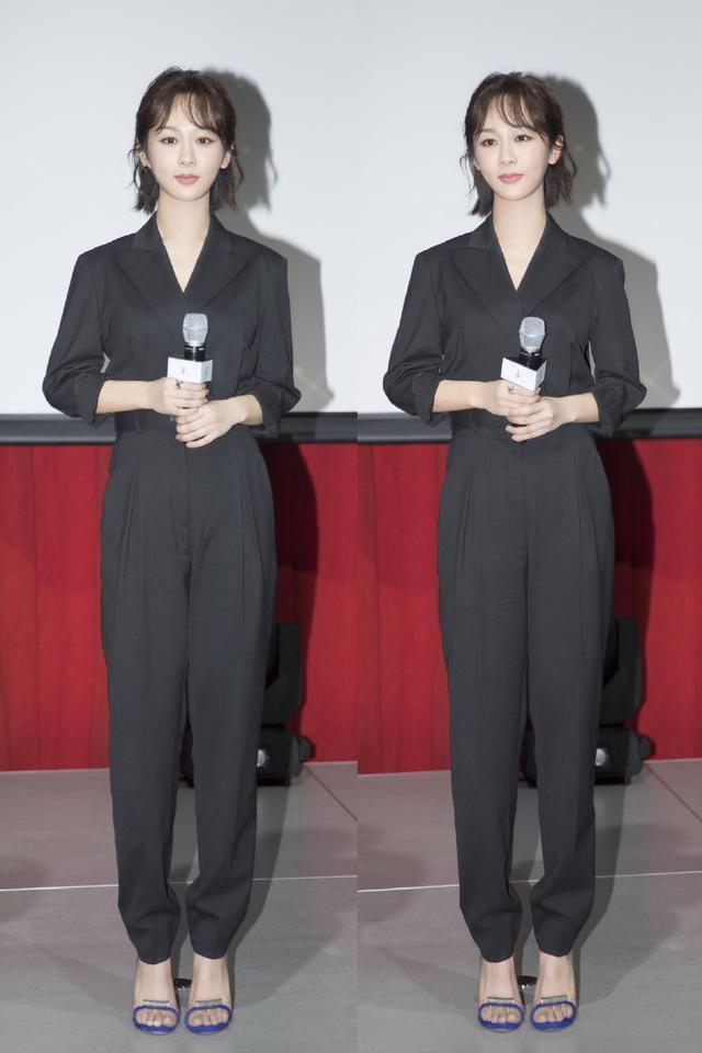 杨紫身穿黑色套装亮相活动,与朴信惠同框比美!却老气得像40岁?
